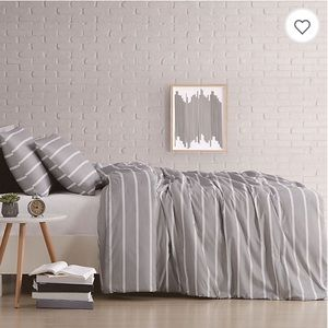 New Truly soft gray stripe duvet cover set twin XL